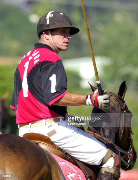 Actor Tommy Lee Jones sits astride his pony July 16 2000 as his polo team San Saba competes for the Robert Skene Trophy at the Santa Barbara Polo...