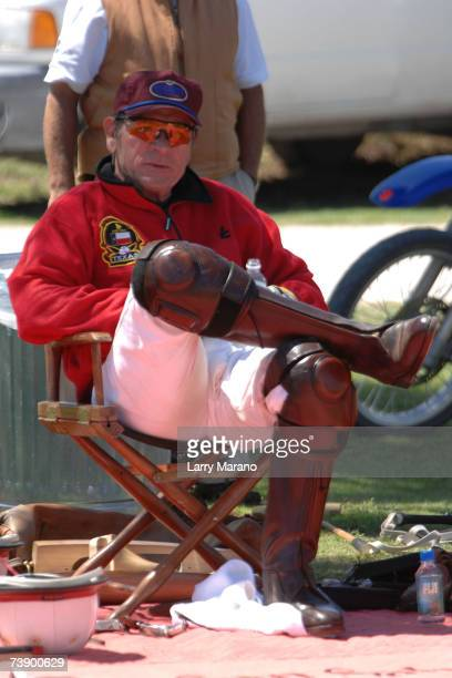Actor Tommy Lee Jones sits during a competition with his Polo Team San Saba in the Stanford US Open at International Polo Club Palm Beach April 16...