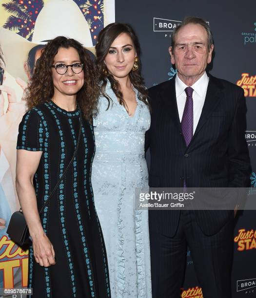 Actor Tommy Lee Jones wife Dawn LaurelJones and daughter Victoria Jones arrive at the premiere of 'Just Getting Started' at ArcLight Hollywood on...