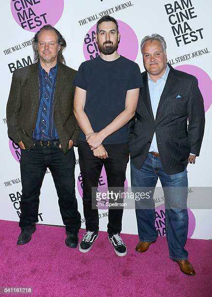 "Actor Tommy Nohilly, director Ti West and actor Larry Fessenden attend the BAMcinemaFest 2016 - ""In A Valley Of Violence"" premiere at BAM Harvey..."