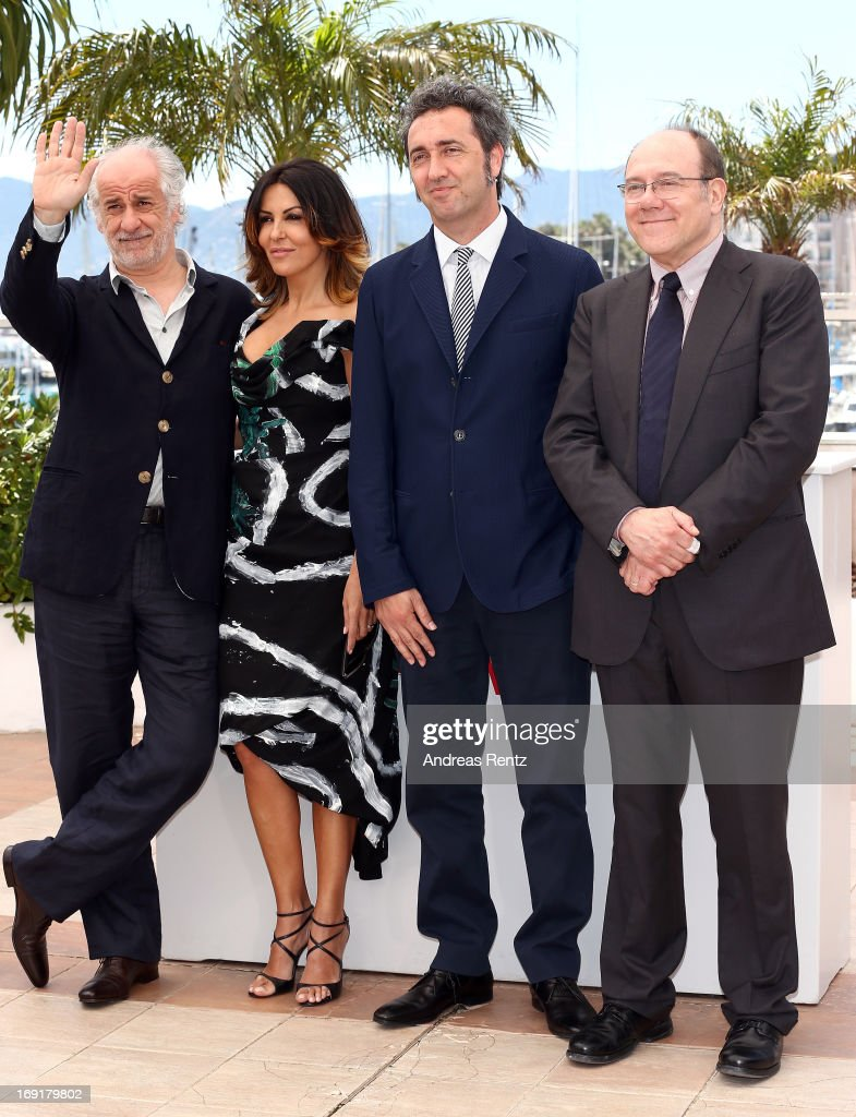 Actor Toni Servillo, actress Sabrina Ferilli, director Paolo Sorrentino and actor Carlo Verdone attend the 'La Grande Bellezza' Photocall during The 66th Annual Cannes Film Festival at the Palais des Festivals on May 21, 2013 in Cannes, France.