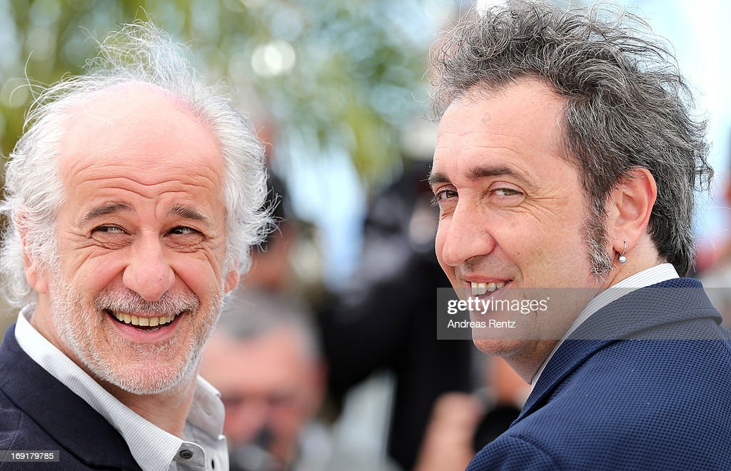 Actor Toni Servillo and director Paolo Sorrentino attend the 'La Grande Bellezza' Photocall during The 66th Annual Cannes Film Festival at the Palais des Festivals on May 21, 2013 in Cannes, France.