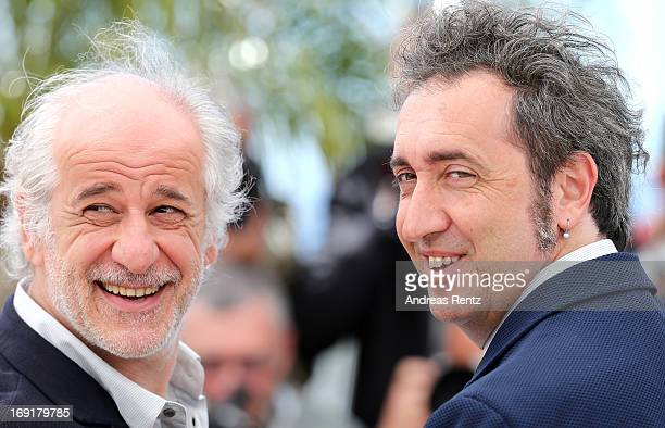 Actor Toni Servillo and director Paolo Sorrentino attend the 'La Grande Bellezza' Photocall during The 66th Annual Cannes Film Festival at the Palais...