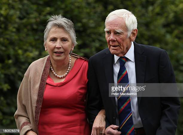 Actor Tony Booth and his wife Stephanie Buckley walk to All Saints Parish Church for the wedding of Euan Blair and Suzanne Ashman on September 14...