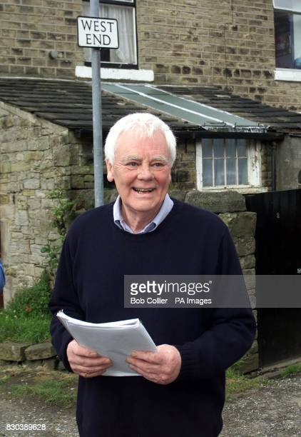 Actor Tony Booth father of Cherie Blair approaches reporters outside his house in Broadbottom Greater Manchester after the announcement that his...