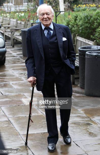 Actor Tony Britton attends a memorial for Dinah Sheridan an actress who starred in 'The Railway Children' at St Paul's Church on April 9 2013 in...