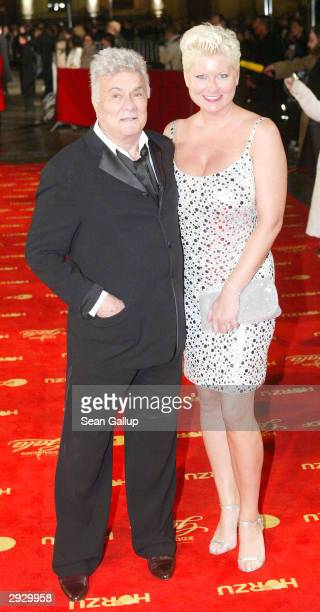 Actor Tony Curtis and his wife Jill Ann Curtis attend the Goldene Kamera Film Awards on February 4 2004 in Berlin Germany