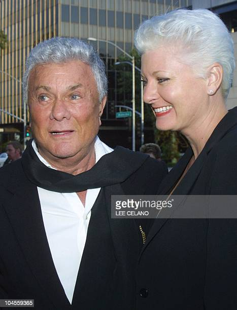 US actor Tony Curtis and his wife Jill arrive for a memorial service for the late US director Billy Wilder at the Academy of Motion Pictures Arts and...