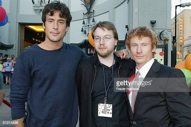 """Actor Tony Daly, director Sven Pape and actor Zack Ward arrive at the World Premiere of """"LA Twister"""" on June 30, 2004 at the Grauman's Chinese..."""