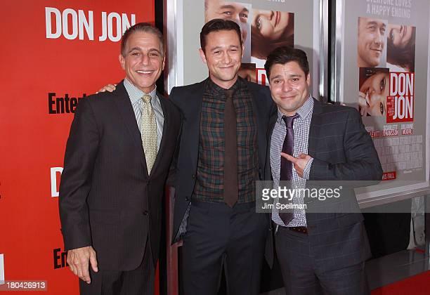 Actor Tony Danza actor/director Joseph GordonLevitt and actor Jeremy Luke attend Don Jon New York Premiere at SVA Theater on September 12 2013 in New...