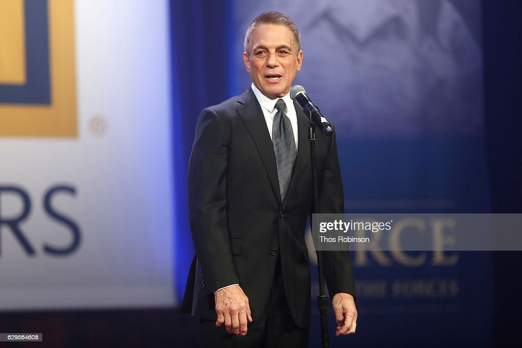 Actor Tony Danza performs onstage during the USO 75th Anniversary Armed Forces Gala & Gold Medal Dinner at Marriott Marquis Times Square on December 13, 2016 in New York City.