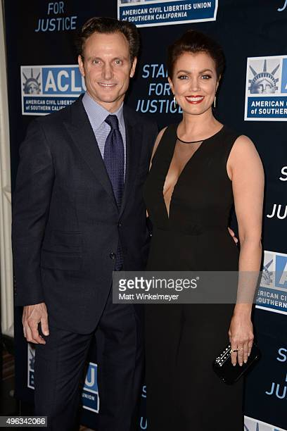 Actor Tony Goldwyn and actress Bellamy Young attend the ACLU SoCal hosts 2015 Bill of Rights Dinner at the Beverly Wilshire Four Seasons Hotel on...