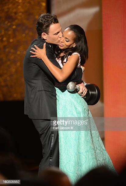 Actor Tony Goldwyn presents actress Kerry Washington with Outstanding Actress in a Drama Series award for 'Scandal' onstage during the 44th NAACP...