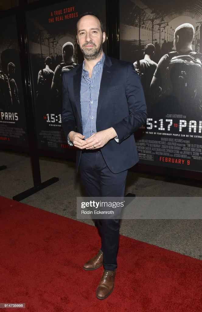 Actor Tony Hale arrives at the premiere of Warner Bros. Pictures' 'The 15:17 to Paris' at Warner Bros. Studios on February 5, 2018 in Burbank, California.