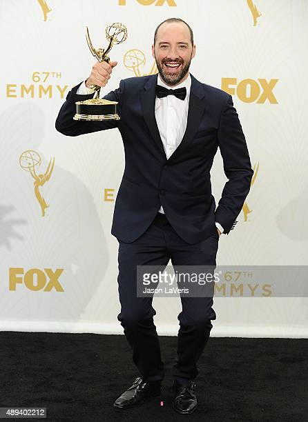 Actor Tony Hale poses in the press room at the 67th annual Primetime Emmy Awards at Microsoft Theater on September 20 2015 in Los Angeles California