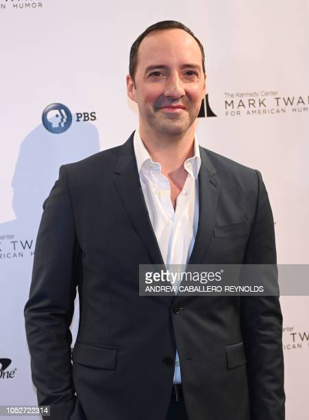 Actor Tony Hale poses on the red carpet for the 21st Annual Mark Twain Prize for American Humor at the Kennedy Center in Washington DC on October 21...