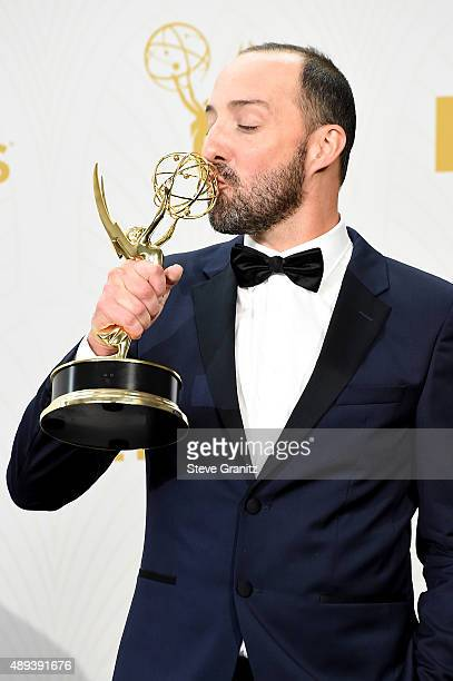 Actor Tony Hale poses with an Emmy award in the press room at the 67th Annual Primetime Emmy Awards at Microsoft Theater on September 20 2015 in Los...