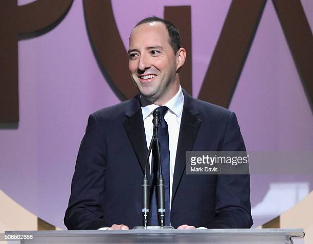 Actor Tony Hale speaks onstage at the 27th Annual Producers Guild Awards at the Hyatt Regency Century Plaza on January 23 2016 in Century City...