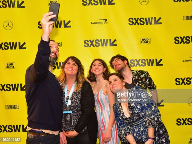 Actor Tony Hale takes a selfie with the cast at the premiere of 'SADIE' during SXSW at Stateside Theater on March 10 2018 in Austin Texas