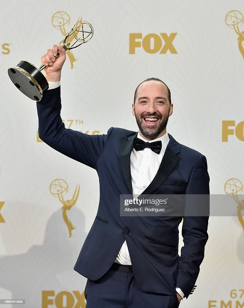 Actor Tony Hale, winner of Outstanding Supporting Actor in a Comedy Series for 'Veep', poses in the press room at the 67th Annual Primetime Emmy Awards at Microsoft Theater on September 20, 2015 in Los Angeles, California.