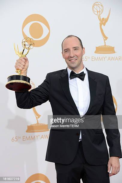 Actor Tony Hale winner of the Best Supporting Actor in a Comedy Series Award for Veep poses in the press room during the 65th Annual Primetime Emmy...