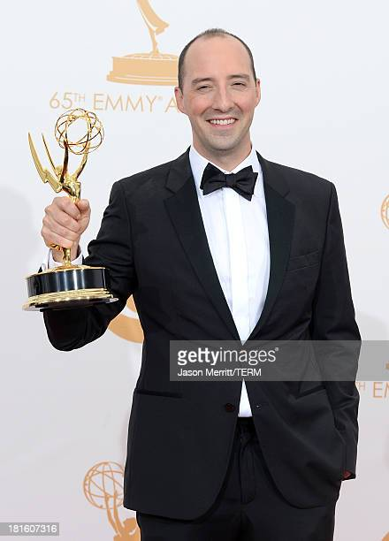 "Actor Tony Hale, winner of the Best Supporting Actor in a Comedy Series Award for ""Veep"" poses in the press room during the 65th Annual Primetime..."