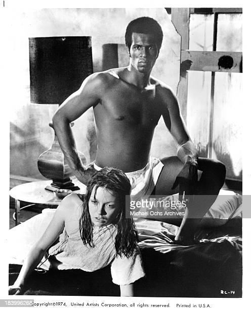 Actor Yaphet Kotto and Susan Blakely on set of the United Artists movie Report to the Commissioner in 1975