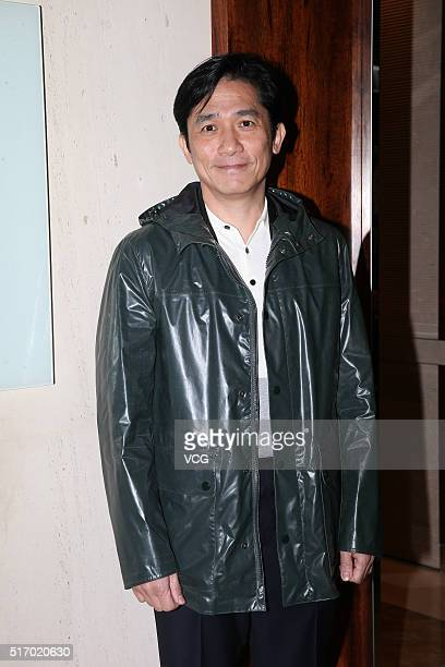 Actor Tony Leung Chiu Wai arrives at an annual dinner of a film company on March 22 2016 in Hong Kong China