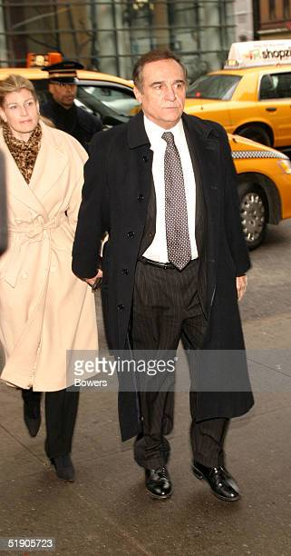Actor Tony LoBianco and his wife attend the funeral for Jerry Orbach at Riverside Chapel December 31 2004 in New York City