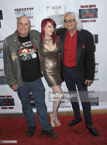 Actor Tony Moran actress Julie Anne Prescott and Michael St Michaels arrive for the Clown Motel Spirit's Arise Premiere held at Downtown Independent...
