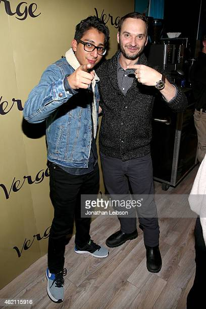 Actor Tony Revolori and celebrity photographer Jeff Vespa attend the Verge Sundance 2015 Party at WireImage Studio on January 24 2015 in Park City...