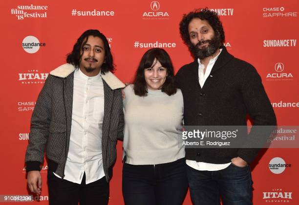 Actor Tony Revolori director/screenwriter Hannah Fidell and actor Jason Mantzoukas attend the premiere of 'The Long Dumb Road' during the Sundance...