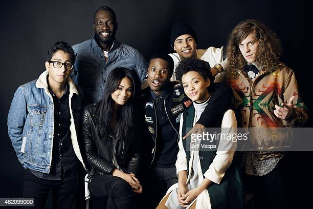 Actor Tony Revolori director/writer Rick Famuyiwa actors Chanel Iman Shameik Moore Quincy Brown Kiersey Clemons and Blake Anderson from Dope pose for...