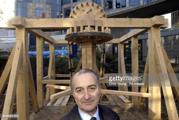 Actor Tony Robinson from the archaeological television programme Time Team in front of a 12ft replica of a Roman water lifting machine at the Museum...