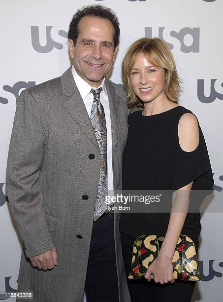 Actor Tony Shalhoub and Actress Traylor Howard arrive at Characters Welcome USA Network celebrates it's Lineup of Stars on April 3 2008 at CRAFT in...