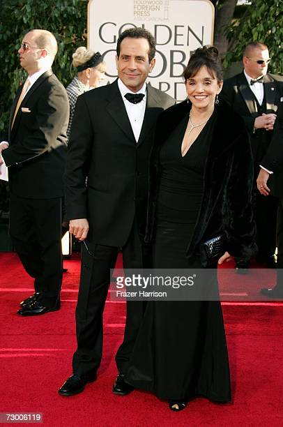 Actor Tony Shalhoub and his wife Actress Brooke Adams arrive at the 64th Annual Golden Globe Awards at the Beverly Hilton on January 15 2007 in...