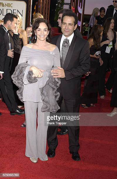 Actor Tony Shalhoub and wife actress Brooke Adams arrive at the 62nd annual Golden Globe Awards held at the Beverly Hilton Hotel