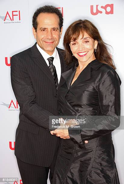 Actor Tony Shalhoub and wife/actress Brooke Adams arrive at the 36th AFI Life Achievement Award tribute to Warren Beatty held at the Kodak Theatre on...