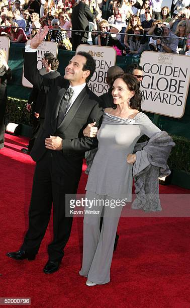 Actor Tony Shalhoub with actress/wife Brooke Adams arrive to the 62nd Annual Golden Globe Awards at the Beverly Hilton Hotel January 16 2005 in...