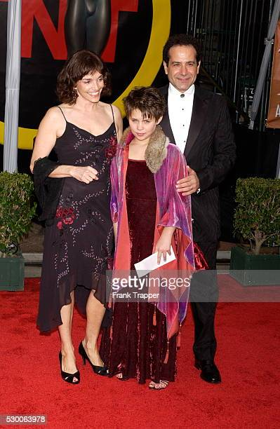 Actor Tony Shalhoub with his wife Brooke Adams and their daughter Sophie arrive at the 10th Annual Screen Actors Guild Awards