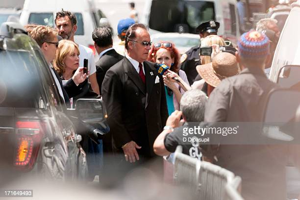 Actor Tony Sirico is interviewed by the press during the funeral for actor James Gandolfini at The Cathedral Church of St John the Divine on June 27...
