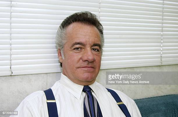 Actor Tony Sirico who plays mob soldier Paulie Walnuts on the TV series 'The Sopranos' relaxes in his trailer between scenes being shot in a Jeresy...