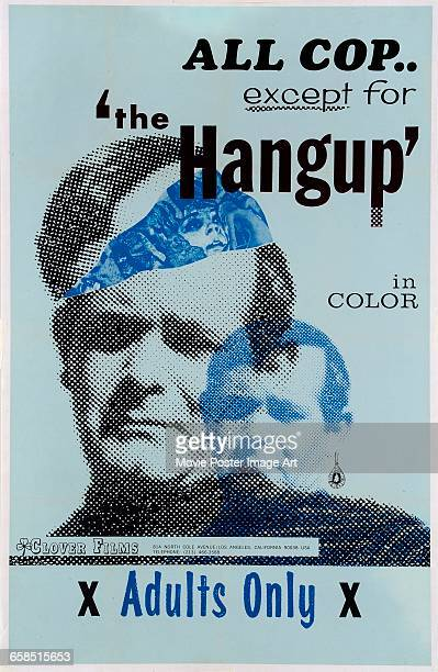 Image contains suggestive contentActor Tony Vorno appears on a poster for the adults only film 'The Hangup' from Clover Films 1969