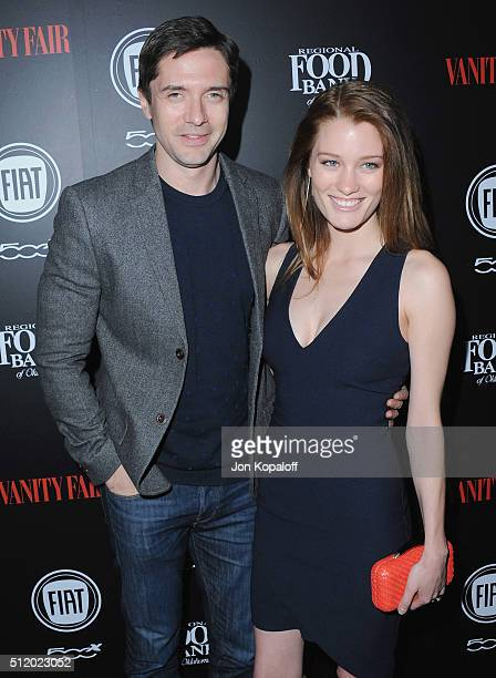 """Actor Topher Grace and actress Ashley Hinshaw arrive at Vanity Fair And FIAT Toast To """"Young Hollywood"""" at Chateau Marmont on February 23, 2016 in..."""