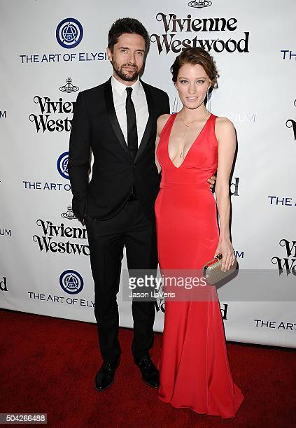 Actor Topher Grace and actress Ashley Hinshaw attend Art of Elysium's 9th annual Heaven Gala at 3LABS on January 9 2016 in Culver City California