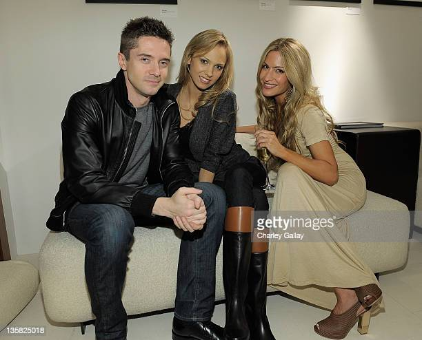 Actor Topher Grace and actresses Marnette Patterson and Rebecca Cardon attend the Bally Conde Nast event to benefit The Art Of Elysium at Bally on...