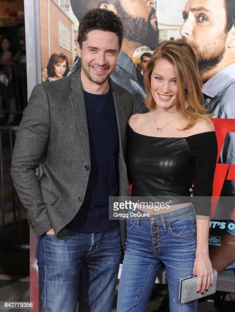 Actor Topher Grace and Ashley Hinshaw arrive at the premiere of Warner Bros Pictures' 'Fist Fight' at Regency Village Theatre on February 13 2017 in...