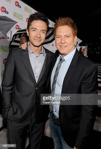 Actor Topher Grace and Relativity Media's Ryan Kavanaugh arrive at Relativity Media presents the premiere of 'Take Me Home Tonight' held at Regal...