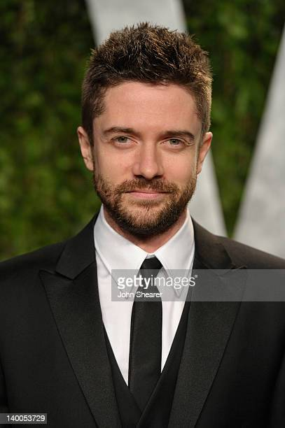 Actor Topher Grace arrives at the 2012 Vanity Fair Oscar Party hosted by Graydon Carter at Sunset Tower on February 26 2012 in West Hollywood...