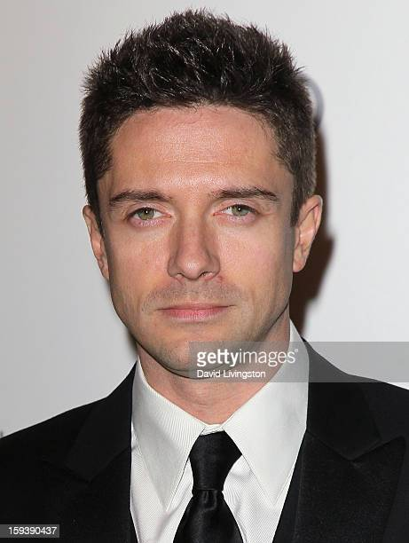 "Actor Topher Grace attends the Art of Elysium's 6th Annual Black-tie Gala ""Heaven"" at 2nd Street Tunnel on January 12, 2013 in Los Angeles,..."